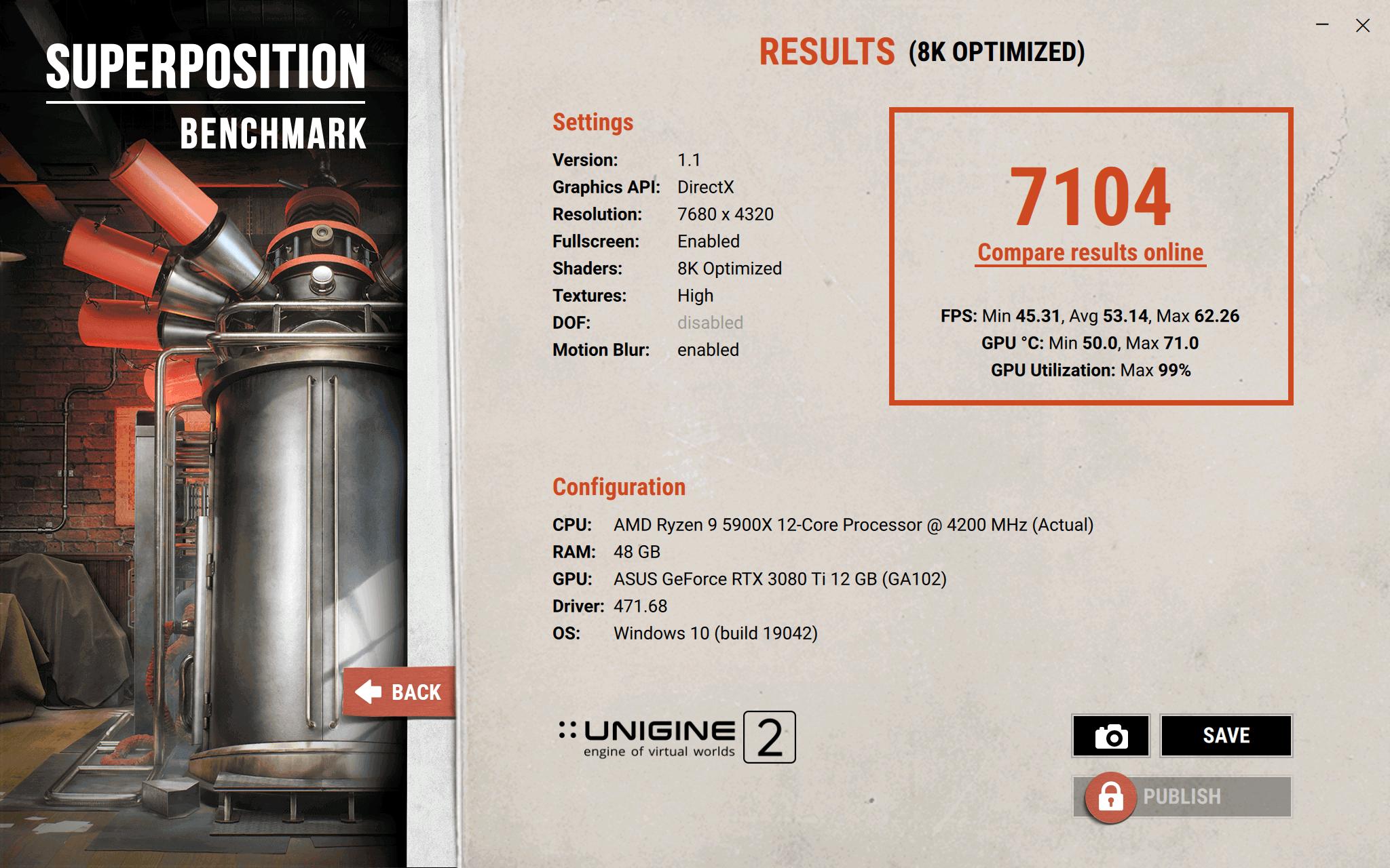 Test de la RTX 3080 TI OC Tuf Gaming en 8k